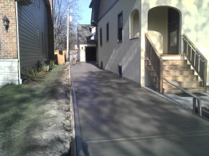 Driveway with curb